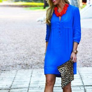 Maeve button front shift shirt dress w pockets